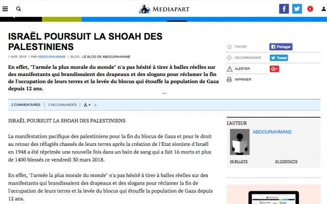 Capture d'écran de l'article «Israël poursuit la shoah des Palestiniens» publié dimanche 1er avril 2018 par le site d'information Mediapart (Crédit : Mediapart)