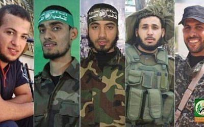 Les dirigeants du groupe terroriste du Hamas ont diffusé les images des membres de son aile militaire qui, ont-ils reconnu, figurent parmi les 16 Gazaouis tués par des tirs israéliens durant des affrontements le long de la barrière de sécurité, le 30 mars 2018.
