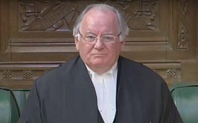 Lord Martin of Springburn, anciennement Michael Martin, lorsqu'il était président de la Chambre des communes au parlement britannique en  2009 (Capture d'écran : YouTube)