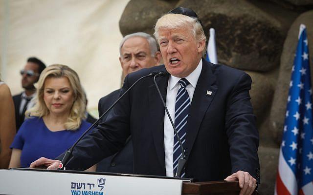 Le président américain Donald Trump lors de son discours au Musée de l'Holocauste de Yad Vashem à Jérusalem, le 23 mai 2017 (Isaac Harari / Flash90)