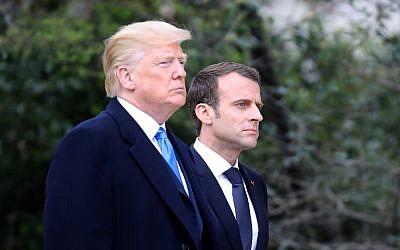 Les présidents français et américain Donald Trump et Emmanuel Macron, en Virginie, le 23 avril 2018. (Crédit :  AFP / Ludovic MARIN)