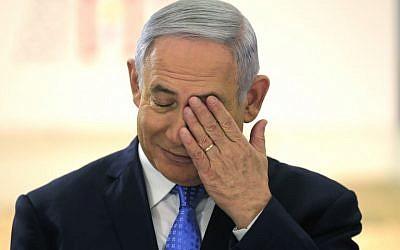 Le Premier ministre israélien Benjamin Netanyahu  lors d'une réunion particulière du cabinet pour la journée de Jérusalem au musée des terres de la Bible de Jérusalem, le 13 mai 2018 (Crédit : / AFP PHOTO / POOL / AMIR COHEN)