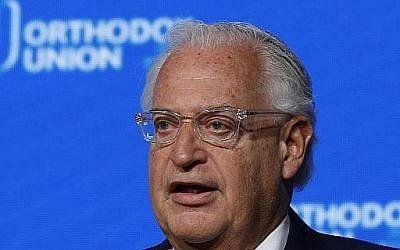 L'ambassadeur américain en Israël David Friedman s'exprime dans la ville sainte lors d'un discours devant l'Union orthodoxe (OU) avant le transfert de l'ambassade américaine à Jérusalem,  le 14 mai 2018 (Crédit : AFP PHOTO / GALI TIBBON)