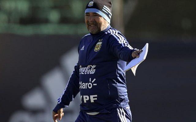 L'entraîneur de l'équipe argentine de football Jorge Sampaoli, à Buenos Aires le 24 mai 2018. (Crédit : AFP PHOTO / JUAN MABROMATA)