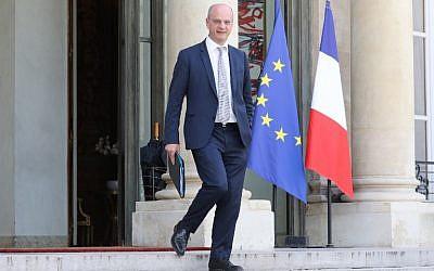 Jean-Michel Blanquer, ministre de l'Education quitte l'Elysée après une réunion, le 30 mai 2018 on May 30 (Crédit AFP PHOTO / Ludovic MARIN)