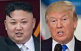Le leader nord-corée  Kim Jong-un (gauche) et le président américain Donald Trump (droite). (Crédit : AFP/Saul Loeb et Ed Jones)
