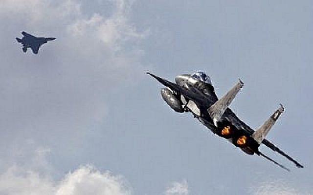 Un F-15 de l'armée de l'air israélienne décolle le 8 novembre 2017 lors de l'exercice Blue Flag à la base aérienne d'Ovda, au nord de la ville israélienne d'Eilat. (Jack Guez/AFP)