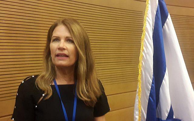 L'ancienne membre du congrès américain Michele Bachmann, représentante du Minnesota, à la Knesset, le 13 mai 2018 (Crédit : Times of Israel)
