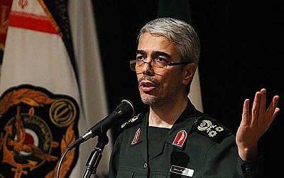 Le major-général Mohammed Hussein Afchardi connu sous le nom de Mohammed Hussein Bagheri est le commandant en chef du Corps des Gardiens de la révolution islamique qui occupe actuellement la position militaire la plus haute disponible en Iran, le chef d'état-major des Forces armées iraniennes. (Capture d'écran Twitter)