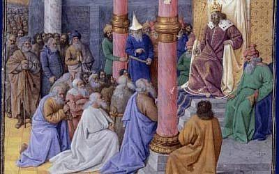 Une peinture du 15ème siècle réalisée par Jean Fouquet du roi perse Cyrius II le Grand, libérant les Juifs de l'exil de Babylone (Crédit: CC-PD-Mark, by Yann, Wikimedia Commons)
