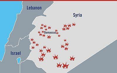 Une carte illustrative montrant l'emplacement général des frappes israéliennes en Syrie en réponse à une attaque présumée iranienne sur le plateau du Golan le 10 mai 2018. (Armée israélienne)