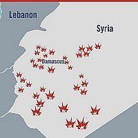 Une carte illustrant les localisations des frappes israéliennes en Syrie en réponse à une attaque iranienne présumée sur le plateau du Golan, le 10 mai 2018 (Crédit : Forces de défense israéliennes)