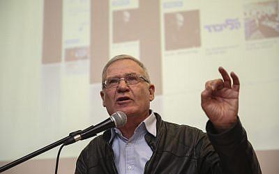Amos Yadlin prend la parole lors d'une conférence organisée par IsraPresse pour la communauté francophone au Begin Heritage Institute, Jérusalem, le 22 février 2015. (Hadas Parush/Flash90)