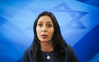 La ministre de la Culture et des Sports, Miri Regev, arrive à la réunion hebdomadaire du cabinet du Premier ministre à Jérusalem, le 11 mars 2018. (Marc Israel Sellem)