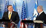 Le Premier ministre Benjamin Netanyahu (à droite) tient une conférence de presse conjointe avec le secrétaire d'État américain Mike Pompeo au ministère de la Défense à Tel Aviv le 29 avril 2018. (Yariv Katz/Pool/Flash90)