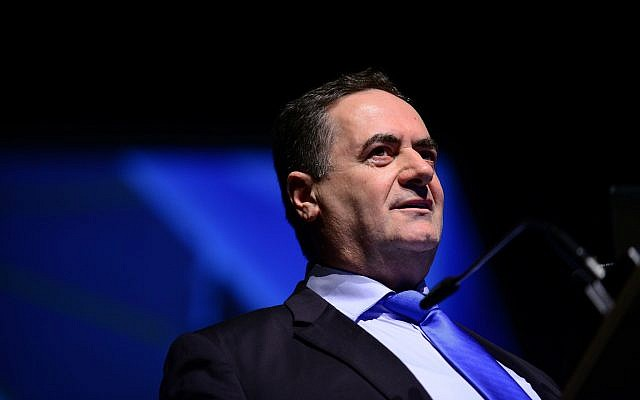 Le ministre des Transports et du Renseignement, Yisraël Katz, prend la parole lors de la Conférence sur l'aviation israélienne à Airport City, le 2 mai 2018. (Tomer Neuberg/Flash90)