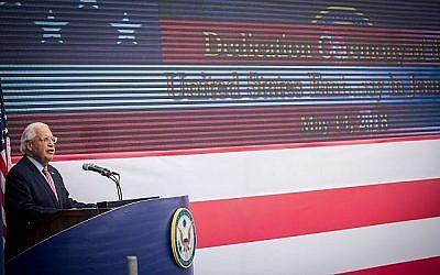 L'ambassadeur américain en Israël, David Friedman, prend la parole lors de la cérémonie d'ouverture officielle de l'ambassade américaine à Jérusalem le 14 mai 2018. (Yonatan Sindel / Flash90)