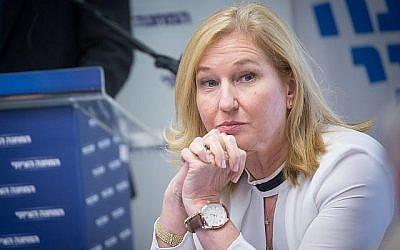 La députée de l'Union sioniste Tzipi Livni assiste à une réunion de sa faction à la Knesset, le 21 mai 2018. (Miriam Alster/FLASH90)