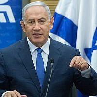 Le Premier ministre Benjamin Netanyahu dirige une réunion de la faction du Likud à la Knesset le 21 mai 2018. (Miriam Alster/Flash90)