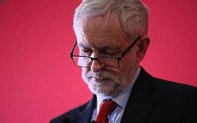 Jeremy Corbyn lors d'un événement du Labour à  Stretford, au Royaume-Uni, le 22 mars 2018 (Crédit :  Christopher Furlong/Getty Images)
