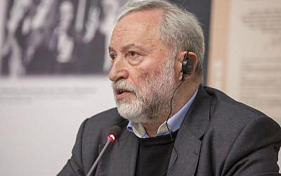 Josef Zissels est un leader communautaire juif qui a passé presque 10 ans dans une prison soviétique et un avocat de la révolution ukrainienne pro-indépendance (Autorisation :   Vaad des Juifs ukrainiens / via JTA)