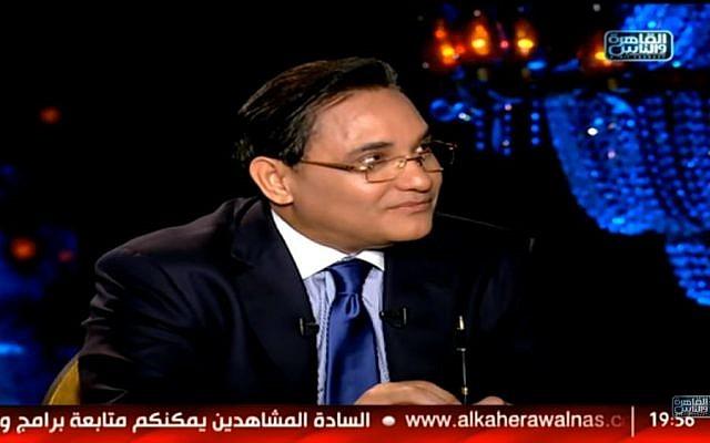 Abdelrahim Ali, présentateur vedette en Egypte, compagnon de route du régime dans sa guerre menée contre les Frères musulmans (Crédit; capture d'écran Abdelrahim Ali/Twitter)