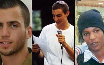 De gauche à droite : Oron Shaul, Hadar Goldin et Avraham Mengistu (Crédit : Flash90/The Times of Israël)