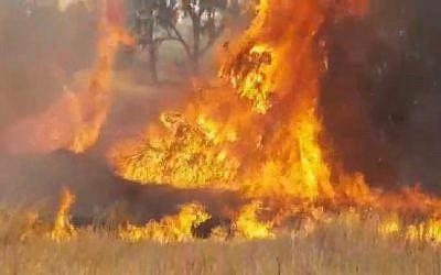 Un feu causé par un cerf-volant enflammé lancé depuis Gaza, près du kibboutz Kissoufim, le 25 mai 2018. (Crédit : capture d'écran Twitter)