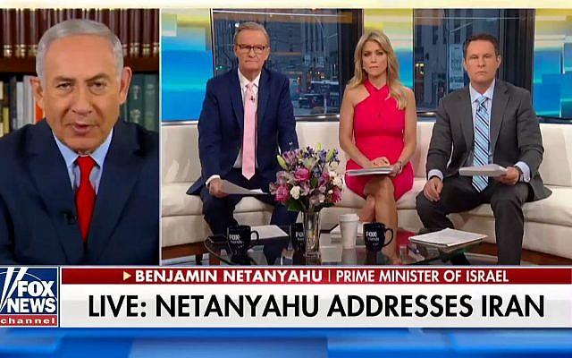 Le Premier ministre Benjamin Netanyahu dans une interview télévisée sur la chaîne Fox News sur les archives nucléaires iraniennes, 1er mai 2018. (capture d'écran)