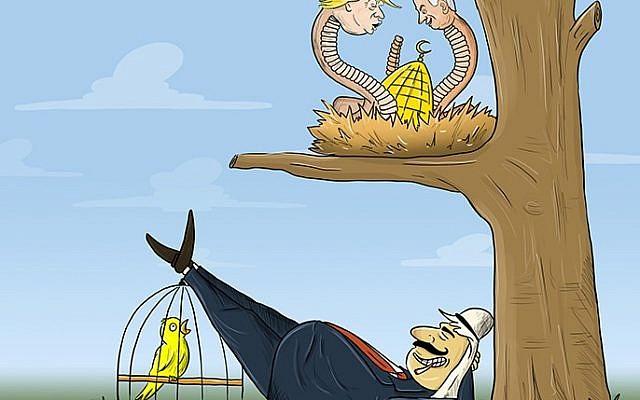 Caricature montrant le président américain Trump et le premier ministre Benjamin Netanyahu dépeints comme des serpents sur le point d'attaquer la mosquée al-Aqsa à Jérusalem. Al-Jazira, 16 mai 2018, Qatar. (via l'Anti-Defamation League)