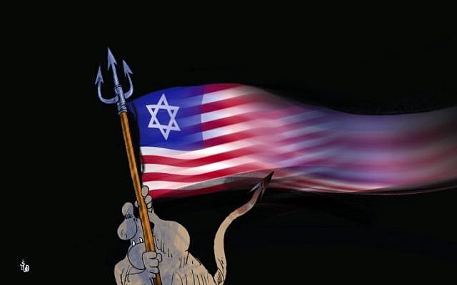 Caricature montrant le diable agitant un drapeau américain avec une étoile de David, de al-Hayat, basé à Londres, le 15 mai 2018. (via l'Anti-Defamation League)