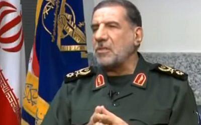 Le général Ismail Kowsari, commandant-adjoint de la bade de Tharallah des Gardiens de la révolution iraniens,  sur la chaîne Al-Alam, le 27 septembre 2017 (Capture d'écran  YouTube/Middle East Media Research Institute)