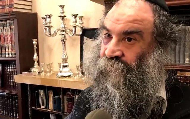 Menachem Moskowitz, 52 ans, qui a été agressé et étranglé sur le chemin du retour des prières de Shabbat dans le quartier Crown Heights à Brooklyn, New York, le 23 avril 2018. (Capture d'écran : Twitter)