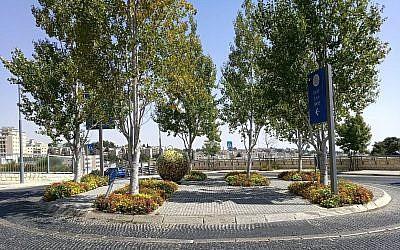 Le plan d'une nouvelle place à proximité de la nouvelle ambassade américaine de Jérusalem que le maire de la ville nommera en l'honneur du président américain Donald Trump, le 18 mai 2018 (Crédit : Erez Shani)
