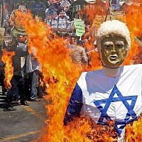 Les Iraniens brûlent une effigie du président américain Donald Trump vêtu du drapeau israélien à Téhéran lors de la Journée de Jérusalem, le 8 juin 2018 (Crédit : AFP Photo/STR)