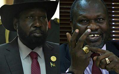 (MONTAGE) A gauche : le président du Soudan du Sud Salva Kir. A gauche , le chef rebelle du Soudan du Sud Riek Machar. (Crédit : AFP )/ SIMON MAINA AND ISAAC KASAMANI)