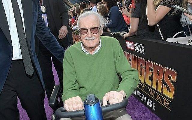 L'auteur-réalisateur Stan Lee à l'avant-première d'Avengers: Infinity War, à Los Angeles, le 23 avril 2018 (Crédit : Charley Gallay/Getty Images for Disney/AFP)