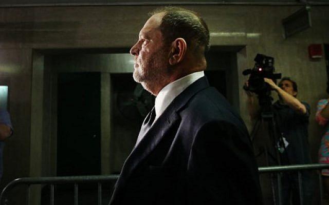 Harvey Weinstein plaide non coupable dans un tribunal de New York, le 5 juin 2018. (Crédit : Spencer Platt/Getty Images/AFP)