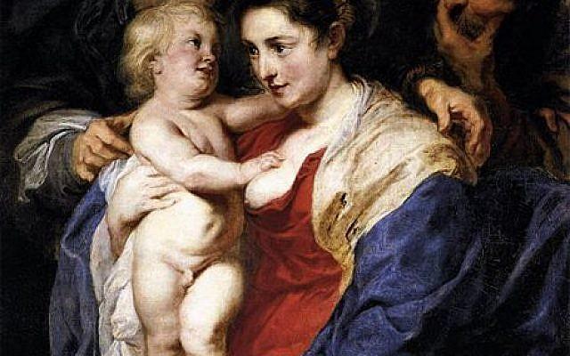 Photo d'illustration : La sainte famille avec  Ste Anne par Rubens. L'une des peintures de la série de la Sainte famille a été volée en Italie par un homme habillé en rabbin (Crédit : Wikimedia/Creative Commons)