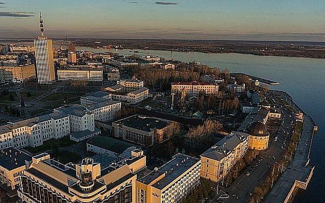 Vue aérienne de la ville d'Arkhangelsk (Crédit : CC-BY SA Forum Arctica/Wikipedia)