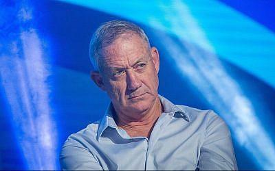 Benny Gantz, ancien chef d'état-major de l'armée de défense israélienne, prend la parole lors de la Conférence annuelle sioniste mondiale, à Jérusalem, le 2 novembre 2017. (Miriam Alster / FLASH90)