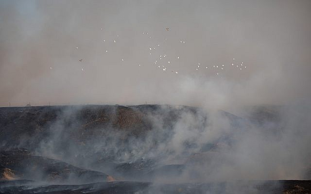 Vue d'un incendie dans une réserve naturelle causée par des cerfs-volants lancés par des manifestants palestiniens depuis la frontière avec la bande de Gaza, le 5 juin 2018 (Crédit : Yonatan Sindel/Flash90)
