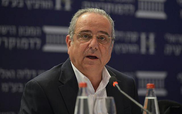 Shraga Brosh, président du syndicat des fabricants, lors de la conférence Eli Horowitz pour l'économie et la société, organisée par l'Institut israélien de la démocratie, à Jérusalem, le 19 juin 2018. (Yossi Zeliger/Flash90)