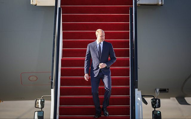 Le Prince William arrive à l'aéroport international Ben Gurion le 25 juin 2018. (Crédit : Hadas Parush / Flash90)