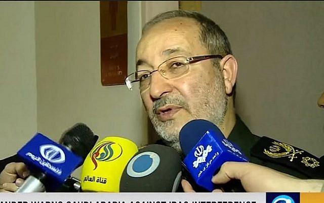 Le général Masoud Jazayeri, porte-parole  des forces armées iraniennes, lors d'une interview accordée à la chaîne d'état Press TV au mois de juin 2016 (Capture d'écran :  YouTube)