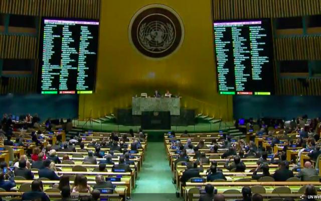 L'Assemblée générale de l'ONU vote une résolution sur les récentes manifestations de Gaza, le 13 juin 2018 (Capture d'écran : ONU)