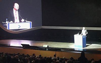 Yigal Unna,directeur de l'administration de cybertechnologie israélienne, à la Cyber Week, le 20 juin 2018 (Crédit : Shoshanna Solomon/Times of Israel)