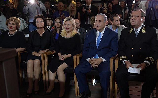 Le Premier ministre Benjamin Netanyahu lors d'une réception marquant la Journée de la Russie à la cour de Sergei, Jérusalem, le 14 juin 2018 (Amos Ben-Gershom/GPO).