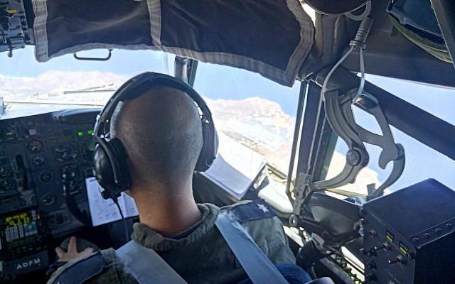 Vue sur la Grèce depuis le cockpit d'un avion de l'armée de l'air israélienne participant à un exercice aérien au-dessus de la nation européenne en juin 2018. (Armée israélienne)