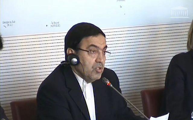 L'ambassadeur d'Iran en France, Abolghassem Delfi, lors de son audition devant la Commission des affaires étrangères de l'Assemblée nationale (Crédit: capture d'écran Assemblée nationale)